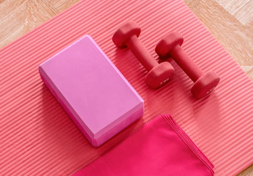 Weight loss dumbbells on the floor