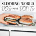 Slimming world do's and don's hamburger in hand