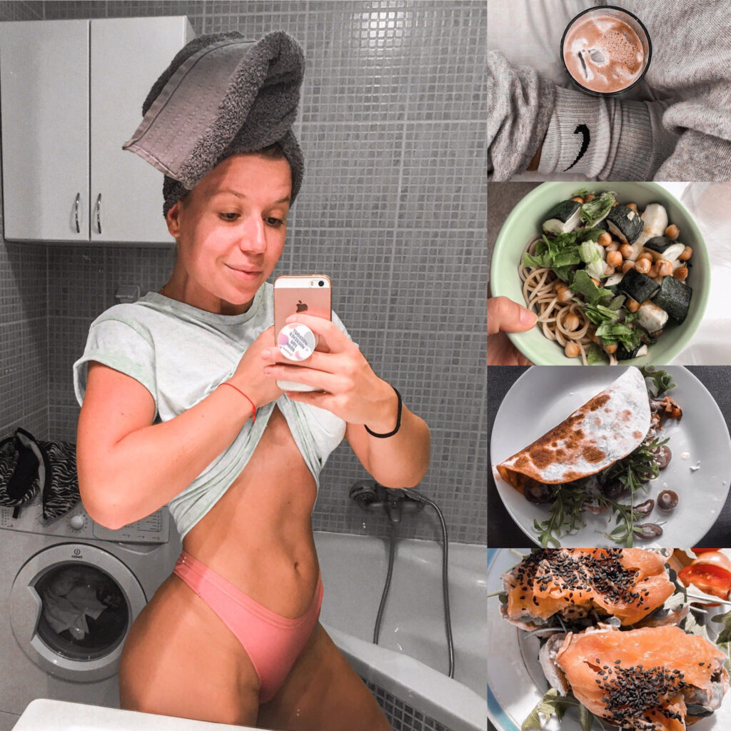 Mirror selfie after workout with food