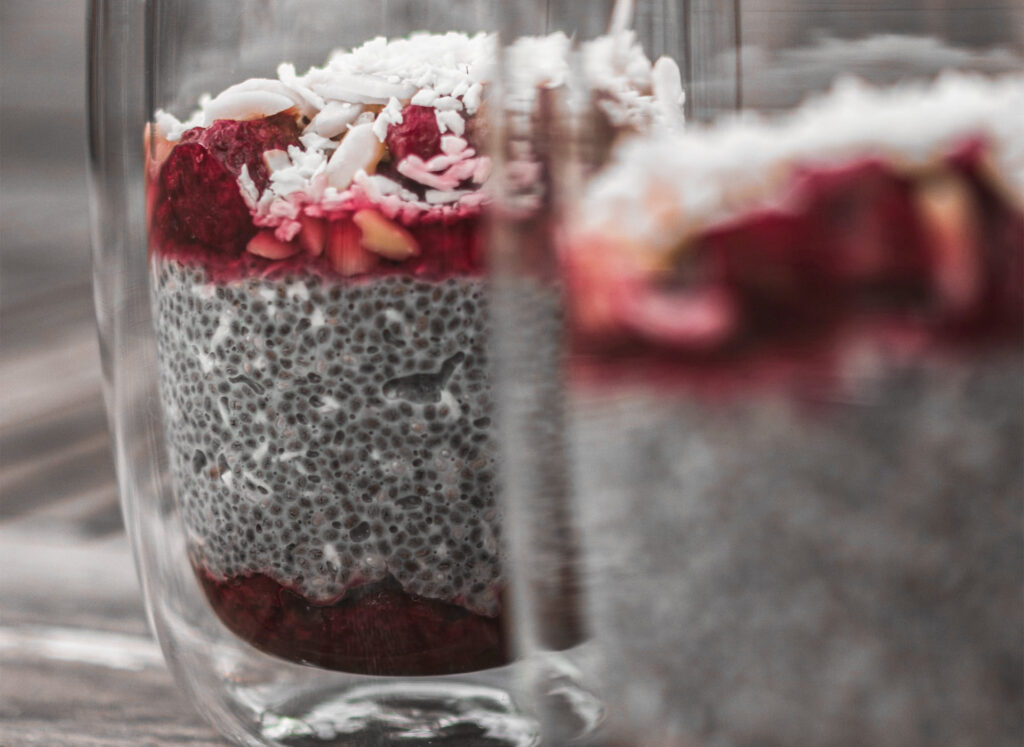 Two glasses of chia pudding